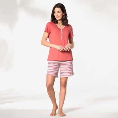 Damen-Schlafanzug mit Streifen, 2-teilig