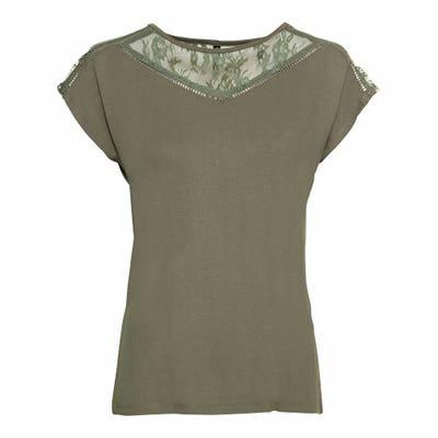 Damen-T-Shirt mit Spitzeneinsatz