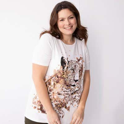 Damen-T-Shirt mit Tiger-Aufdruck, große Größen