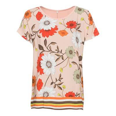 Damen-T-Shirt Blumen-Druck vorne