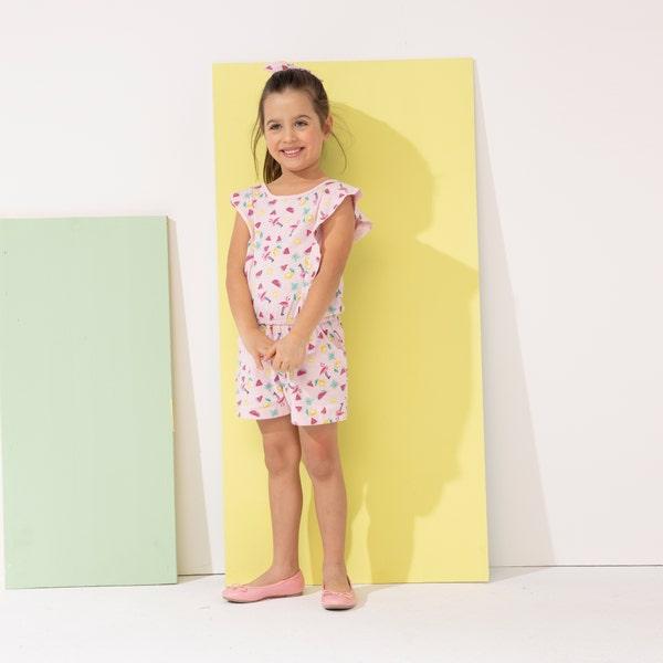 Kinder-Mädchen-Jumpsuit inklusive Haarband