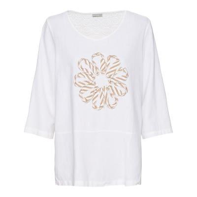 Damen-Bluse mit Blumen-Applikation