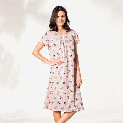 Damen-Nachthemd mit klassischem Blumen-Muster