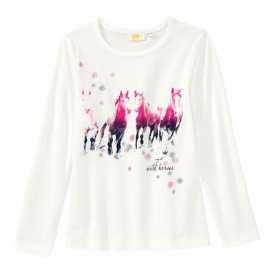 Mädchen-Shirt mit Pferde-Frontaufdruck