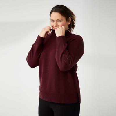 Damen-Pullover mit Lochstrickmuster, große Größen