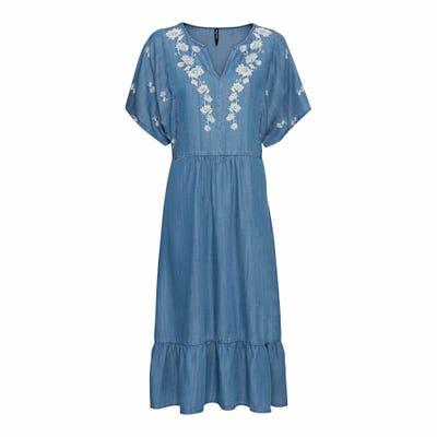 Damen-Kleid mit Blumenstickerei