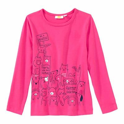 Mädchen-Shirt mit Tier-Frontaufdruck