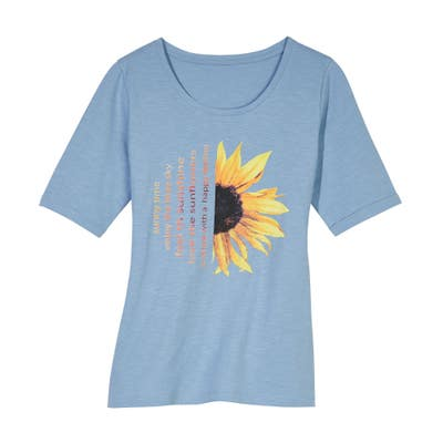 Damen-T-Shirt mit Sonnenblumen-Frontaufdruck