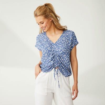 Damen-Bluse mit schicker Raffung