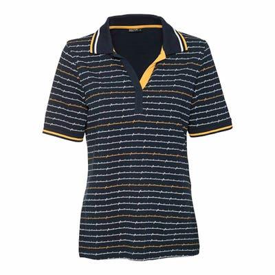 Damen-Poloshirt mit Kontrast-Streifen