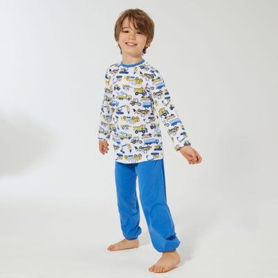 Jungen-Schlafanzug mit Baustellenfahrzeugen, 2-teilig