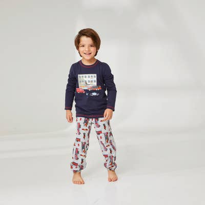 Jungen-Schlafanzug mit Feuerwehr-Aufdruck, 2-teilig