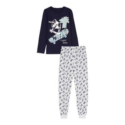Jungen-Schlafanzug mit Skater-Frontaufdruck, 2-teilig