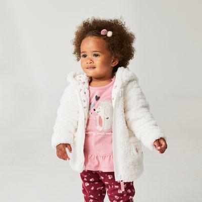 Baby-Mädchen-Plüschjacke mit Kapuze