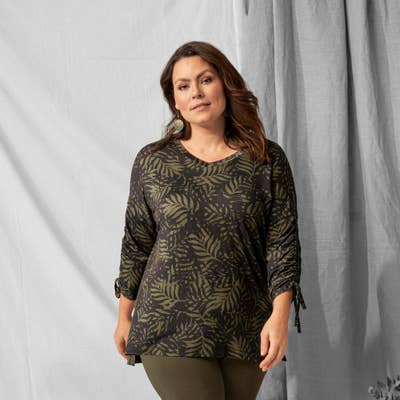 Damen-T-Shirt mit Tropen-Design, große Größen