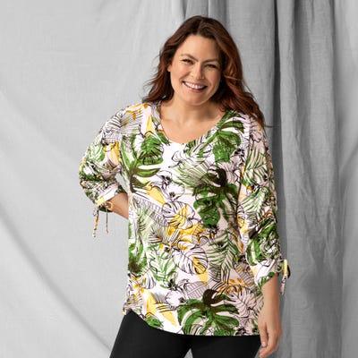Damen-Tunika mit tropischem Motiv, große Größen