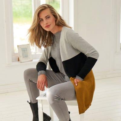 Damen-Strickjacke mit Blockstreifen