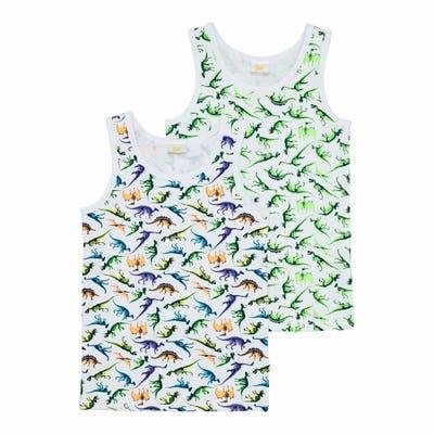 Jungen-Unterhemd mit Dino-Druck, 2er-Pack