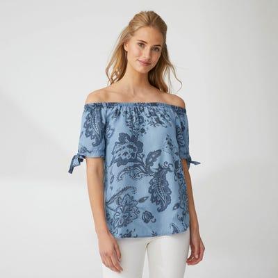 Damen-Bluse mit Carmen-Ausschnitt