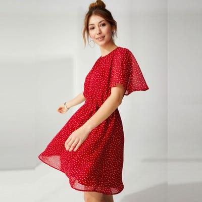 Damen-Chiffon-Kleid mit Herzmuster