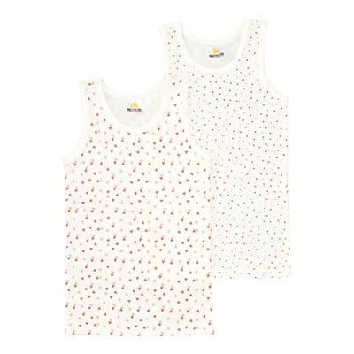 Mädchen-Unterhemd mit Herzmuster, 2er-Pack
