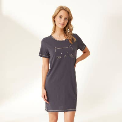 Damen-Nachthemd mit Katzen-Frontaufdruck