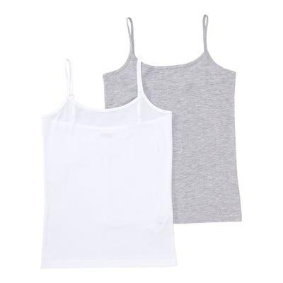 Mädchen-Unterhemd in Melange-Optik, 2er-Pack