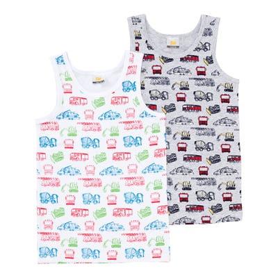 Jungen-Unterhemd mit Fahrzeug-Muster, 2er-Pack