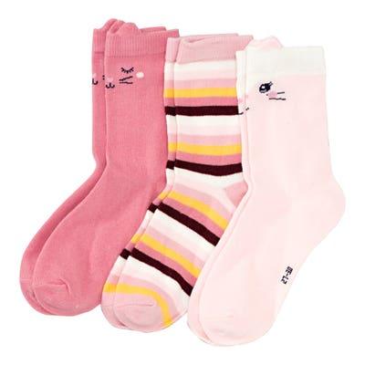 Mädchen-Socken mit Tiergesichtern, 3er-Pack