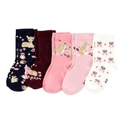 Mädchen-Socken mit Waldtieren, 5er-Pack