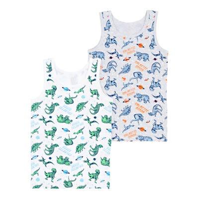 Jungen-Unterhemd mit Dino-Muster, 2er-Pack