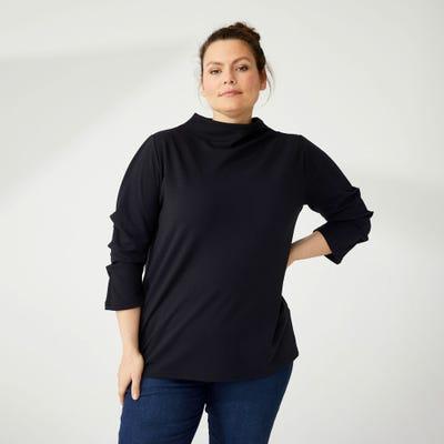 Damen-Shirt mit Falten an den Ärmeln, große Größen