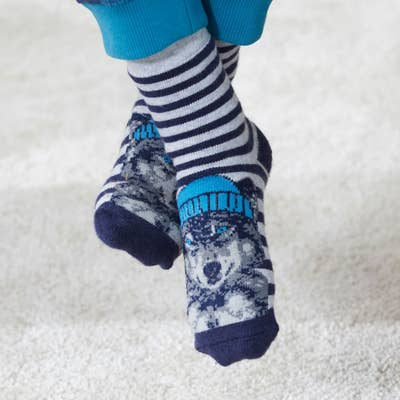 Kinder-Thermo-Socken mit Tier-Motiven, 2er-Pack