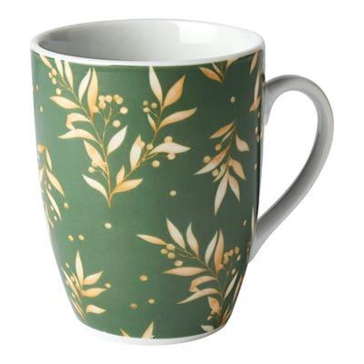 Kaffeebecher mit Blätter-Motiv