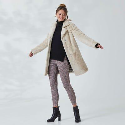 Damen-Hose mit Hahnentritt-Muster