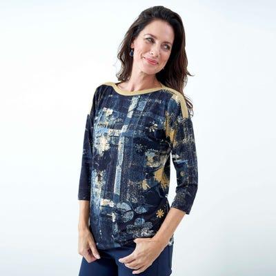 Damen-Shirt mit Glitzerband am Ausschnitt