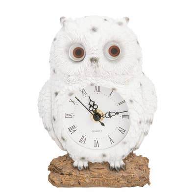 Deko-Eule mit Uhr, ca. 12x6x18cm