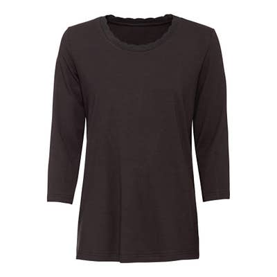 Damen-Shirt mit Kontrasttape am Ausschnitt